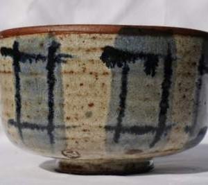 Chawan med blå og sort mønstre